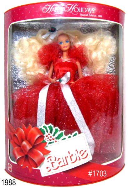 The 1988 Happy Holidays  Barbie doll is the first doll in this popular special edition series.  Shes dressed in a red tulle gown with glitter and a white satin bow. Her  long blonde hair flows over her shoulders, and is accented by a silvery  bow.