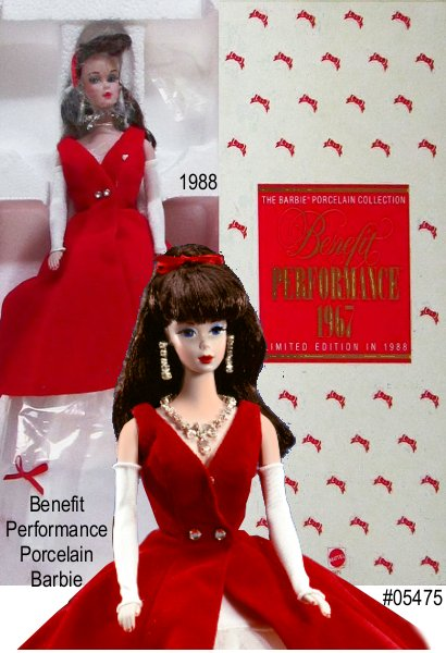 Barbie doll is a vision of  red in this vintage reproduction of the 1967 Twist N Turn Barbie. Made in  porcelain with real eyelashes and dark flowing hair, Barbie wears a  reproduction of the 1966 Benefit Performance fashion. Gown consists of a  red flared dress with underlying white layers of tulle accented with red  ribbon-bows. Long white gloves, sparkling earrings and necklace finish off  this delightful ensemble. VERY RARE and hard to find!