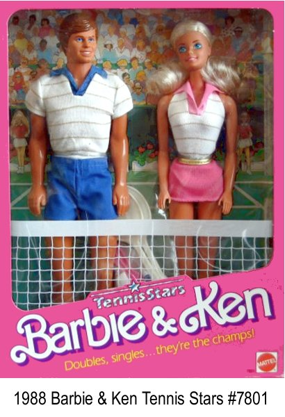 Tennis Stars Barbie and Ken Giftset - Playing Doubles, singles, they're the champs! Barbie, Ken, in tennis outfits with accessories