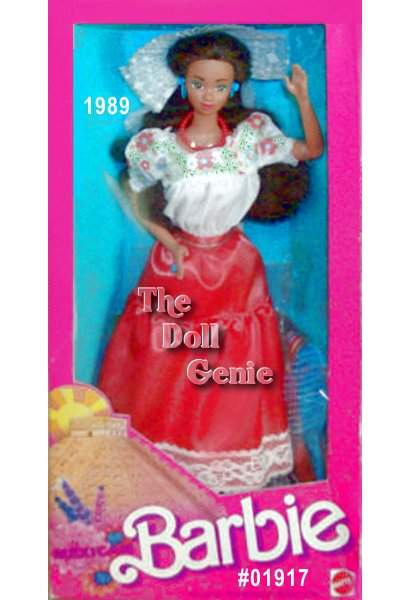 Mexican Barbie dolls costume reflects the strong Spanish influence prevalent throughout her country. Her orange skirt is trimmed in white lace, and accented by a colorful belt. Her white blouse is decorated with red flowers. The white mantilla on her head keeps her hair out of her face, and shows off her hoop earrings.