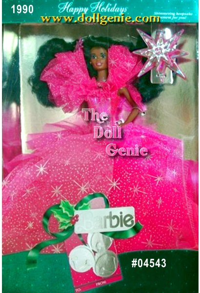 Dressed in pink, Barbie dolls layered fuchsia gown glitters with sparkling silvery accents. Poufed sleeves and accompanying star ornament add special touches to this lovely vision of holiday bliss. African American Barbie Doll