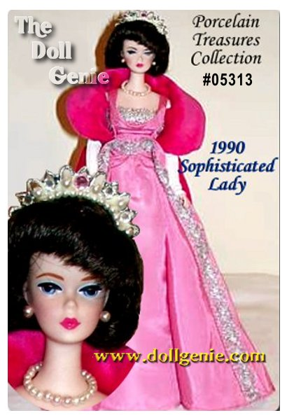 Who could be more sophisticated than Barbie doll in this vintage reproduction of the 1965 Sophisticated Lady fashion. Wearing a long pink taffeta gown with silvery trim, a rose-colored velveteen coat, long white gloves, and sparkling tiara, Barbie exudes charm. Her hair is styled in a fabulous but rare brunette side-parted bubble cut.