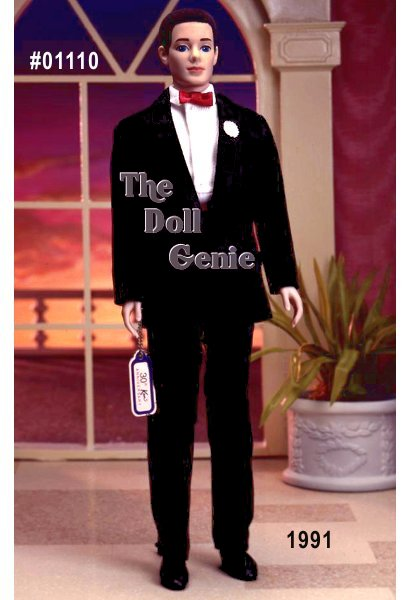 In celebration of Ken dolls 30th anniversary, Mattel created a reproduction of the 1961 Tuxedo fashion. The reproduction features flocked black hair just like the original doll, and comes with an undershirt and boxers.