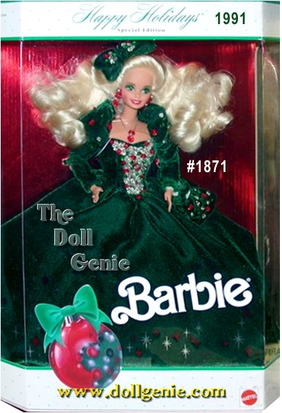 Barbie is elegance personified in this full-length green velvety gown with a beaded bodice of red, green and white sequins and beads. A matching bow tops Barbie dolls flowing hair. Accessories are red and silvery, nicely complimenting the rest of her merry costume. Blonde Version