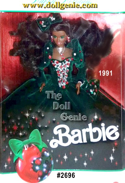 Barbie is elegance personified in this full-length green velvety gown with a beaded bodice of red, green and white sequins and beads. A matching bow tops Barbie dolls flowing hair. Accessories are red and silvery, nicely complimenting the rest of her merry costume. African American Version