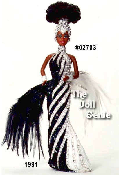 Second in the Mackie series, this stunning and exotic creation features an African American Barbie fitted in a black and silvery gown with over 5000 hand-sewn sequins and beads, matching silvery headdress and feather train.
