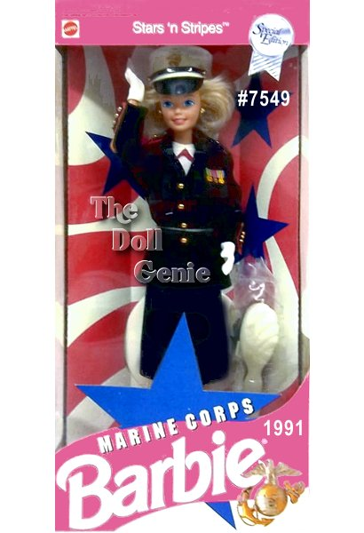 Meet Sergeant Barbie doll, dressed in a replica of an authentic Marine Corps Dress Blues uniform for enlisted women, worn to all official formal Marine Corps events. Her uniform consists of a matching navy-blue jacket with golden buttons and red trim, matching blue skirt, white gloves, hat, and blouse.