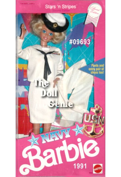 Navy Barbie wears a replica of the official uniform for enlisted women in the U.S. Navy. An insignia and ribbons on her white jumper blouse indicate that she is a petty officer first class and quartermaster, has been in the Navy 8 years and earned many honors, and knows everything about her ship from stem to stern. Matching white skirt, Naval officer hat, and miniature maps accompany Barbie doll. Blonde Version