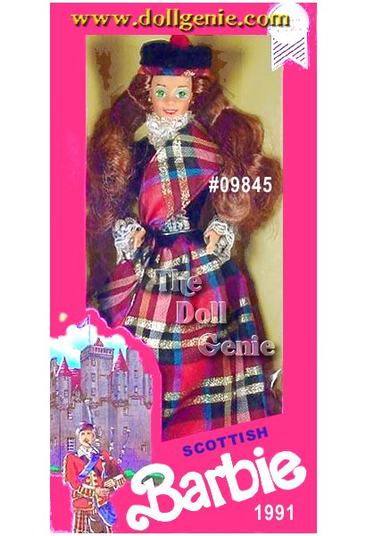 Scottish Barbie doll is a vision of national pride in this patriotic costume. She wears a long plaid skirt, a black blouse with lacy trim, with a matching plaid sash across her chest Her long wavy red hair cascades over her shoulders, and is crowned with a Scottish beret-style hat.