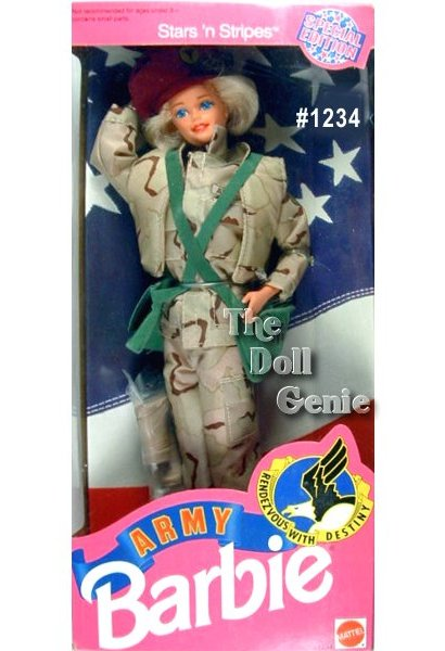 Stars and Stripes Army Barbie Doll in authentic desert battle uniform of camouflage material. Barbie wears a camouflage jacket, pants, and vest, green over-the-shoulder bag, and maroon beret.