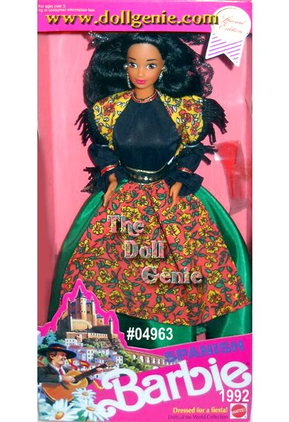 Spanish Barbie doll is dressed for a fiesta in her traditional costume from Catalonia in northeastern Spain. Her long green skirt, colorful apron, dangling golden earrings, and fringed shawl all represent typical dress of the Catalonian people from years past. The final touch, her ornate black and golden lace headpiece called a mantilla, makes this ensemble both breathtaking and traditional.