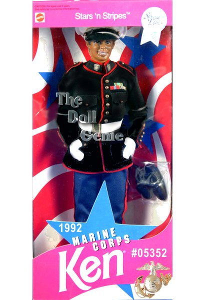 African American Marine Corps Ken is dressed in an authentic Marine Corps Dress Blues uniform. Wearing matching navy-blue pants and jacket trimmed in red with golden buttons, white gloves, and a hat, Ken doll reports for duty. He displays several distinguishing awards on his jacket, and even sports a new head mold, used specifically for this military series. Ken Marines African American