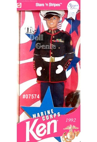 Marine Corps Ken is dressed in an authentic Marine Corps Dress Blues uniform. Wearing matching navy-blue pants and jacket trimmed in red with golden buttons, white gloves, and a hat, Ken doll reports for duty. He displays several distinguishing awards on his jacket, and even sports a new head mold, used specifically for this military series. KEN Marines Caucasian