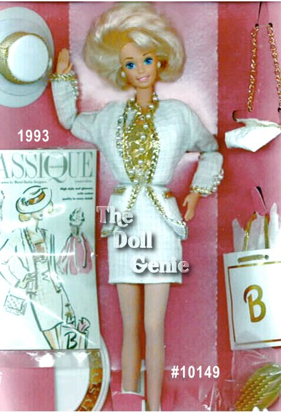 Barbie doll is ready for a fun day of city shopping in this stylish white and golden suit. Her lined white dress with golden top, white jacket trimmed in golden braid, and stylish short blond hair make Barbie quite the trendsetter. Stylish accessories include a white hat with golden trim, white purse with golden shoulder strap, and a matching white shopping bag with a golden Barbie