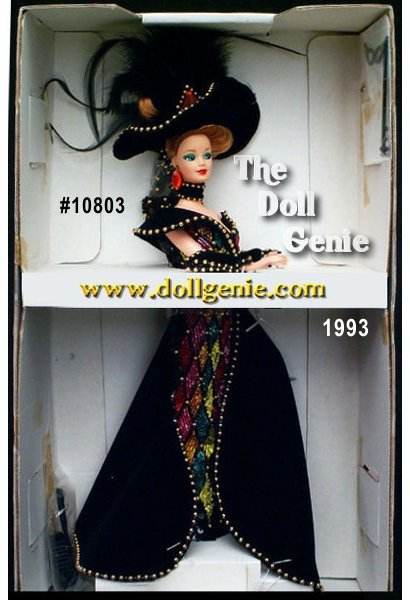 Limited Edition - Sixth in the Mackie series, Masquerade Ball Barbie wears a multi-colored harlequin gown of vivid glass bugle beads sewn in diamond patterns, and accented with a velvety black overskirt. Her braided titian hair is topped by an elaborate black hat with feathers.