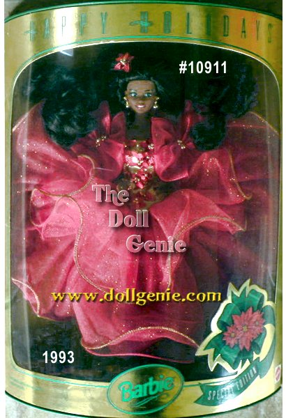 Wearing a red tulle gown with golden bodice, Barbie doll is ready to celebrate the season! Her golden bodice is accented by several red sequined and bead poinsettias. Theres even a lovely poinsettia in her long flowing hair. What a beautiful vision of holiday cheer! African American Version