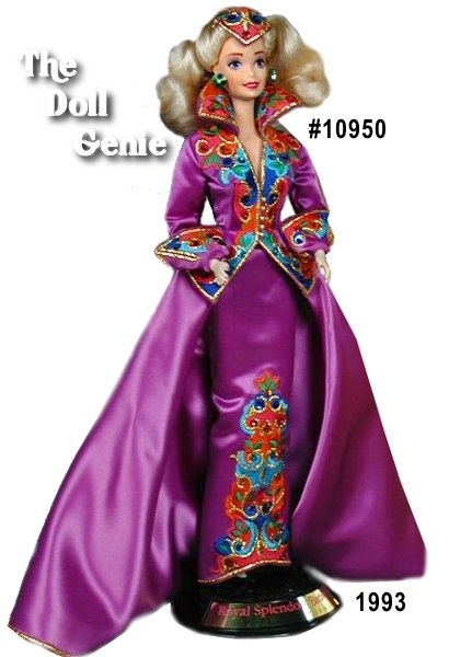 Limited Edition - In a vibrant purple gown featuring incredibly detailed embroidery on the jacket and straight skirt, this porcelain Barbie doll is quite extraordinary. With a fabulous high collar, sweeping purple train attached to the skirt, and an equally rn      exquisite embroidered hair piece, Barbie doll is a true vision of royal splendor.