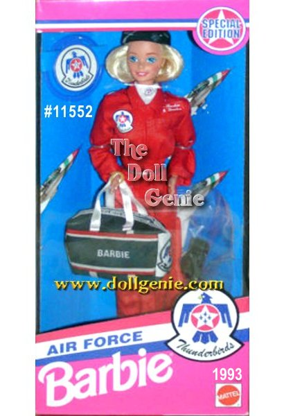 Barbie joins forces to serve her country in this patriotic gift set. Barbie sports a red flightsuit with navy flight cap and matching duffel bag with red and white stripes. Barbie doll comes with Thunderbirds insignia on her flightsuit and a white scarf.