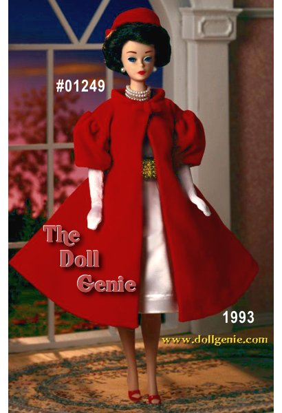 This vintage reproduction is actually a combination of two separate outfits - Silken Flame from 1960, and a red velvety coat called Red Flare, which was originally introduced in 1961. Together, these two outfits, along with a charming brunette bubble cut Barbie doll and vintage face paint, make for a stunning addition to this collection of porcelain reproductions. Add long white gloves and faux pearl necklace and earrings, and the ensemble is complete!