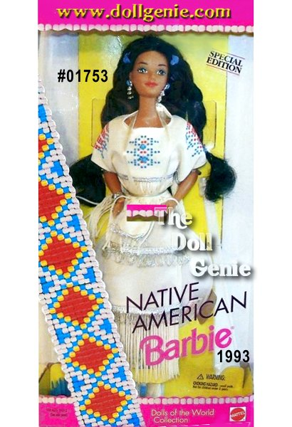 Native American Barbie doll is part of a proud Indian heritage, rich in culture and tradition. Her tribe-inspired costume is a white dress decorated with Indian artwork, fringe, and complemented by the soft faux leather moccasins on her feet. Her purse is also decorated with fringe. Indian women often wear their hair in braids, like this doll, tied at each end with blue bands.
