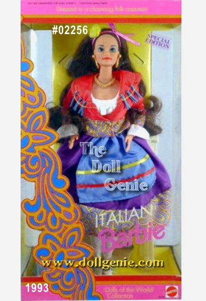 Ciao (hello) from Italy, the boot-shaped European country known for food, fashion, and fun! Barbie doll wears a colorful costume traditionally worn by Neopolitan dancers in the city of Naples. Her white peasant blouse is topped by a colorful jacket, skirt, and apron. A single flower, tied with ribbon, adorns Barbie dolls long brown hair. Her festive costume reflects the mood of this fun-loving country. Arrivederci (good-bye)!