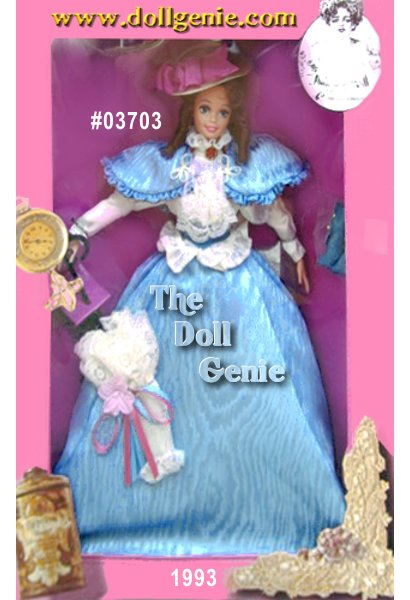 The first doll in the Great Eras collection reflecting different periods in history, Gibson Girl Barbie doll represents the early 20th century. Wearing a long blue skirt, matching cape, white blouse, and cream-colored hat with ribbon accent, Barbie exudes all the charm of the era she represents. Hair curled in ringlets, rooted eyelashes, and a lacy white parasol with pink and blue rnribbon complete this nostalgic ensemble.