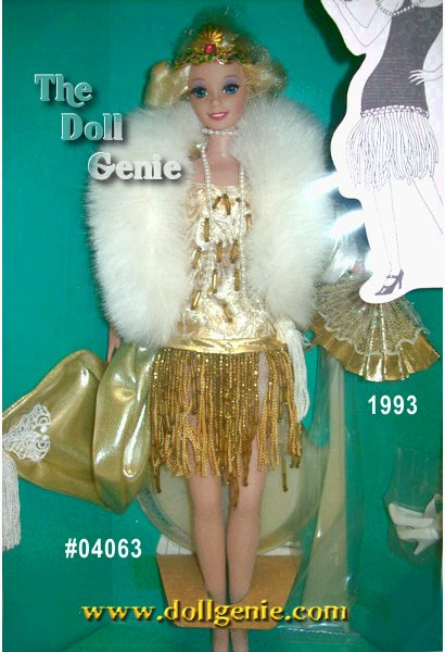 With all the style and sophistication reminiscent of the 1920s, Flapper Barbie doll will surely dance her way into your heart! Wearing a fabulous golden floor-length coat trimmed in white rnfaux fur, a drop-waisted beaded dress, and a matching golden headband, Barbie captures the true essence of the era she represents. Finishing touches include her adorable short blond hair and long strand of faux pearls that hang from her neck.