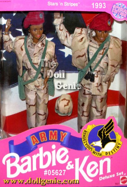 This African American deluxe giftset features Barbie and Ken dolls in authentic desert battle uniforms of camouflage material. Both dolls wear matching camouflage jackets, pants, and vest, green over-the-shoulder bags, and maroon berets.