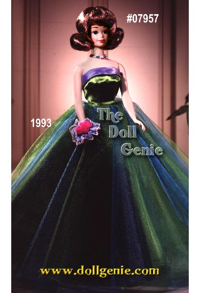 In 1963, Midge doll debuted as Barbie dolls best friend. Its only fitting, then, that 30 years later, Midge celebrates her special anniversary with a vintage reproduction. Wearing the ever-popular Senior Prom fashion from rn  1963, Midge looks breathtaking in her green and turquoise gown. She wears a lovely pink wrist corsage, and a white faux fur stole, both of which did not come with the original fashion.