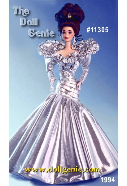 Draped in a silvery gown, an upswept hairstyle, and dangling earrings, Barbie doll is visually stunning. This very limited edition doll comes with a silver-plated bracelet with the Barbie B charm.