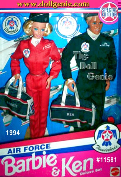 Barbie and Ken dolls join forces to serve their country in this patriotic gift set. Barbie sports a red flightsuit with navy flight cap and matching duffel bag with red and white stripes. Ken wears a navy flightsuit with matching flight cap and duffel bag. Dolls come with Thunderbirds insignia on their flightsuits and white scarves.