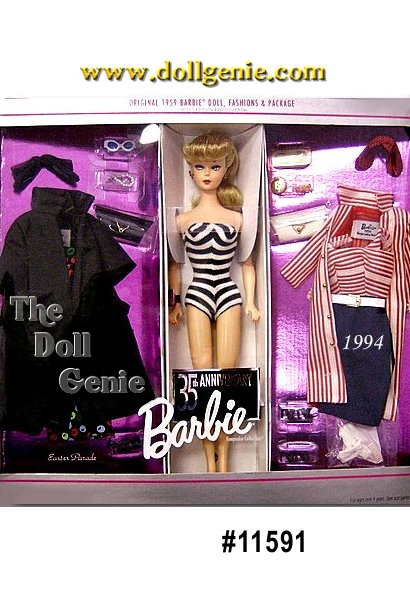 This charming giftset comes with a reproduction of the 1959 #1 Ponytail Barbie doll, as well as reproductions of the 1959 Easter Parade and Roman Holiday fashions. The detailing and accessories on these reproductions are incredible, and will surely evoke the nostalgia of childhood in many adult collectors!