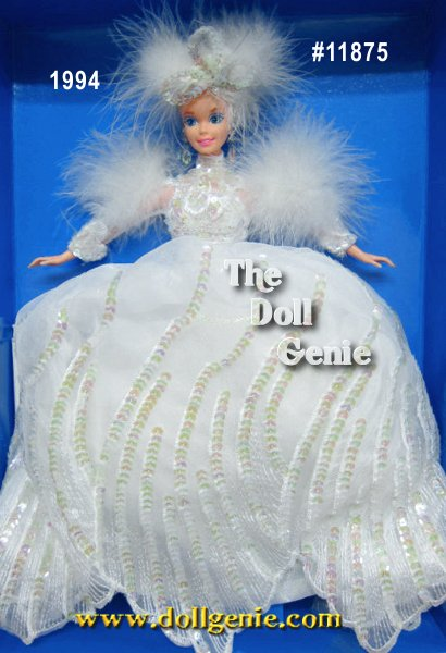 Barbie doll welcomes you to her winter wonderland! Fitted in an elegant white sequined gown with marabou feathers, she exudes the true beauty of a snow-filled day. Shes sure to melt your heart! Blonde Version