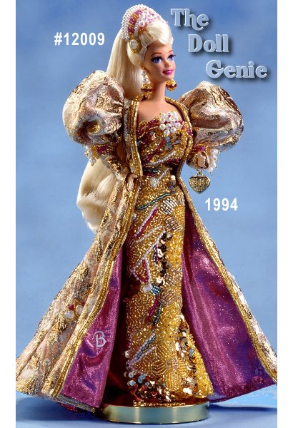 To mark Barbie dolls 35th anniversary, designer Carol Spencer created Gold Jubilee Barbie, a limited edition doll. Dressed in a glittering gown of metallic brocade and colorful beads, Barbie exudes glamour. A fanciful floor-length overcoat lined in pink accompanies the gown. Barbie dolls beautiful long blond hair is pulled back, topped by a beaded headpiece. She wears a doll-sized charm bracelet with the Barbie logo on it.