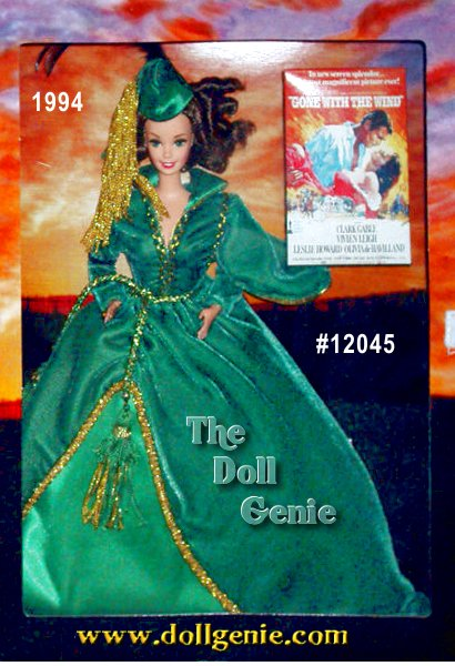 Only Scarlett OHara could look stunning draped in lush green billows of fabric that once hung as curtains. Her ensemble is accented by golden trim and a matching green hat with golden trim. Sparkling emerald eyes and rooted eyelashes compliment the rich colors of the dress.