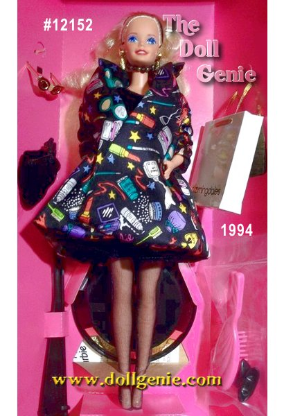 Limited Edition - Designed by Nicole Miller, Barbie doll is ready to shop in style! Wearing a black velvet mini dress and stylish Barbie-print overcoat, Barbie rnappears both casual and glamorous. Matching black purse and pumps accompany her, as well as a Bloomingdales shopping bag.