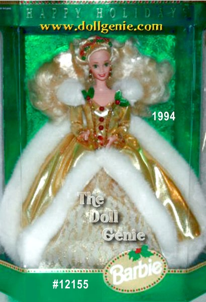 Barbie doll wears a glamorous, faux fur-trimmed golden dress with white and golden lace underskirt. Her fabulous ensemble is accented by holly and berries - it appears on her headband, earrings, and even accents her golden dress