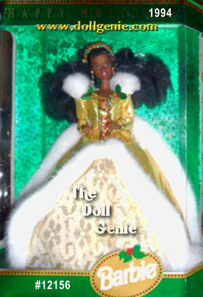 Barbie doll wears a glamorous, faux fur-trimmed golden dress with white and golden lace underskirt. Her fabulous ensemble is accented by holly and berries - it appears on her headband, earrings, rnand even accents her golden dress - African American Version