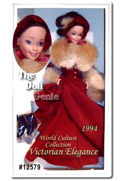 Barbie doll is an elegant beauty in this lavish maroon and brown faux fur skating costume. Her long skirt and matching bonnet create a warm vision for cold winter days. Victorian Elegance Barbie was originally inspired by an antique greeting card, and comes with two miniature greeting cards of her own.