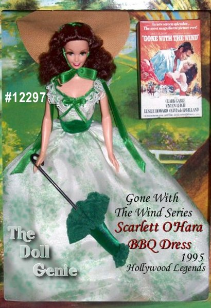 Collector Edition - Barbie as Scarlett is rnready to attend a fun and fancy barbeque in this lovely dress. She wears a flowing white gown with green floral print, a green parasol, and a wide-brimmed straw hat.