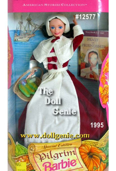 Pilgrim Barbie doll is dressed for Thanksgiving in a maroon dress with ivory collar, apron, and bonnet. She carries a basket of corn, and comes with a storybook detailing her Mayflower voyage to America, and her first Thanksgiving