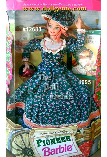 Here is the Pioneer Barbie doll from the American Stories Series. Watch her follow her dreams as a young shopkeeper selling wares from her general store. Shes dressed in a rnfull length calico dress and matching bonnet. A Collector Edition doll, girls will adore both this doll and the very special storybook that brings pioneer history to life.