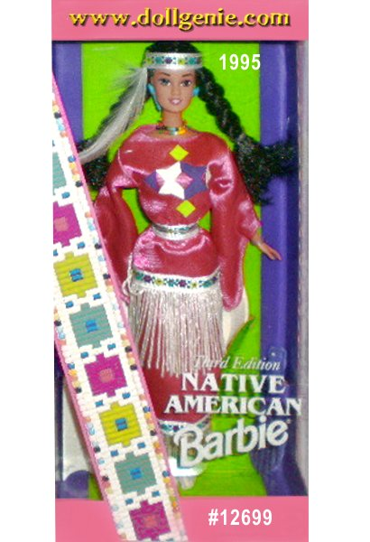 This Native American doll, from the Southern Plains, is dressed in an updated version of a tribal princess costume. Pretty in a pink tunic and skirt with geometric patterns, her costume is trimmed in white fringe and ribbon. Her moccasins, beaded necklace, turquoise earrings and ring complete this modern powwow look.