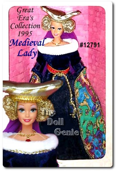 Harking back to the 15th century, Barbie doll captures the true essence of medieval times in this rnincredible costume. Her dark blue floor-length gown is accented by colorful detailing that lines her sleeves, a faux fur collar, and golden trim at the waist, neckline, and sleeves. Her braided hair is covered by a majestic golden hennin.