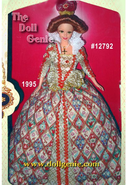 In a stunning quilted dress reminiscent of the 16th century, Barbie doll achieves true royal stature. Representing Queen Elizabeth, Barbie dolls luxuriant red, white, and golden gown has a full skirt, fitted top with long sleeves, and lacy collar. Her dramatic hairstyle, regal hat with golden trim, and golden cross rnnecklace add elegant touches to this already incredible costume.