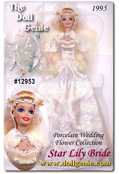 Limited Edition - Part of the Wedding Flower Collection, a series dedicated to the beauty and significance of flowers in rnthe wedding ceremony. What a beautiful bride Barbie doll makes! Dressed in a white brocade gown accented with Austrian crystals, Barbie carries a beautiful bouquet of lilies. Even her lovely veil achieves the shape of a delicate flower on top.