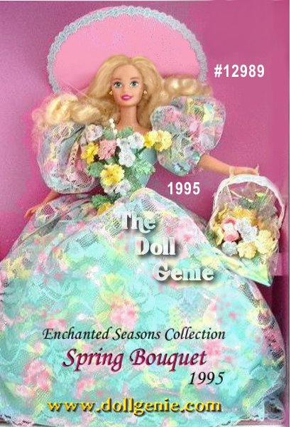 What better way to herald the coming of spring than with the beautiful Spring Bouquet Barbie doll from the Enchanted Seasons Collection. Sheltered from the sun in her wide-brimmed pink hat with pastel blue trim, Barbies ready for a day of fun. Her cascading blond hair and flowing pastel floral print dress make Barbie as lovely as the hand-picked flowers in her white basket.