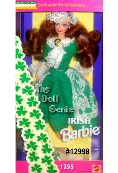 Irish Barbie doll is from the beautiful land of luck, lakes, and blarney! Her beautiful green dress is accented with patches of white lace on her sleeves, skirt, and collar. A lacy white cap crowns her mane of flowing red hair. Her shoes, the color of shamrocks, complete this adorable ensemble.