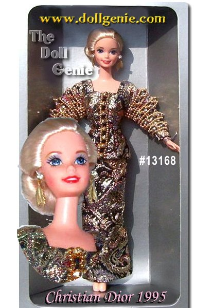 Barbie doll wears only the most fabulous clothing, designed by the worlds premier designers! In this stunning Christian Dior creation, Barbie models an exquisite gold, black, and red metallic brocade gown that includes a fitted jacket and matching floor-length skirt. Golden beads and rhinestones accent the sleeves of her stunning jacket. Her blond hair is pulled back into an elegant chignon style, revealing golden leaf earrings.