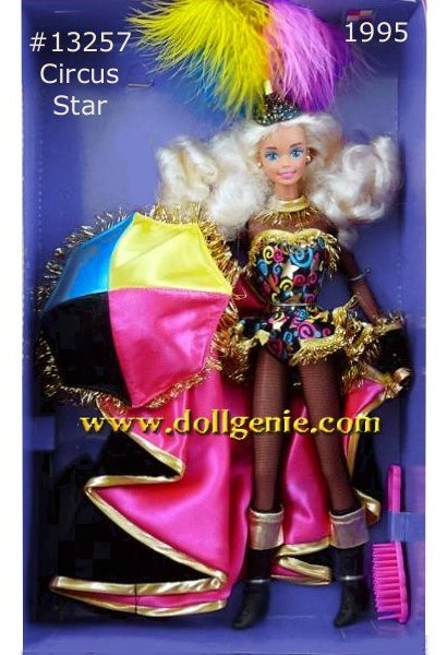 The very colorful 1995 FAO Schwarz exclusive, Circus Star Barbie wears a multi-color, gold trimmed bodysuit over a black fishnet cat suit, gold trimmed black boots, and pink satin lined, gold trimmed black velvet cape, and a multi-colored feathered headpiece. Comes with a multi-colored umbrella.